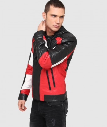 Blouson en cuir MAIN MOJITO - black / red
