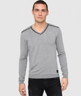 MISTER ELVIS knitted sweater - grey chine