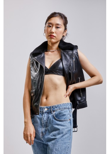 Sleeveless leather jacket  MILA SHYNE