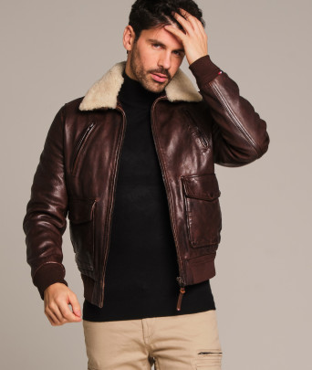 Blouson en cuir FLIGHT ALPHA